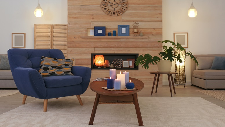 Scented candles in a living room